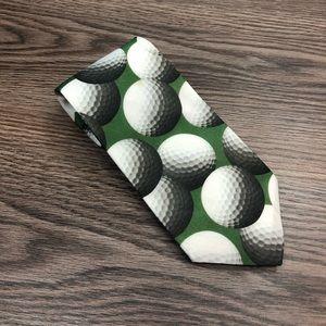Ralph Marlin Green Golf Ball Pattern Tie